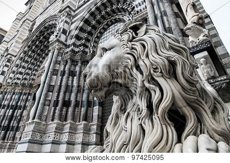 Cathedral Of Saint Lawrence With Lion, Genoa, Italy.