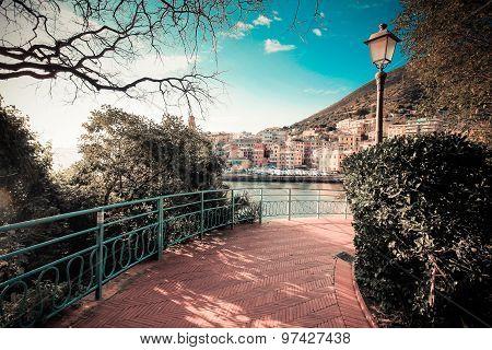 Retro Photo Of Italian Riviera, Genoa.