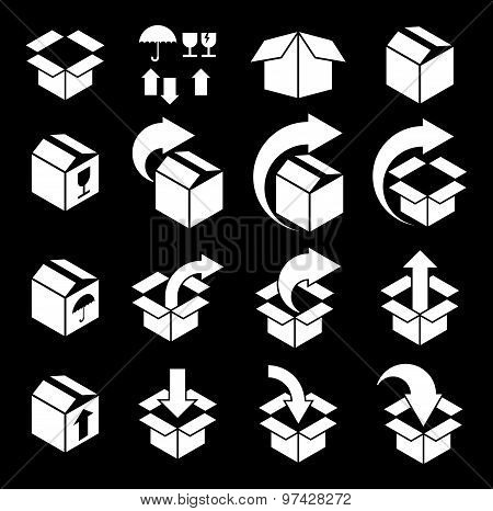 Packaging boxes icons vector set, pack simplistic symbols vector collections.