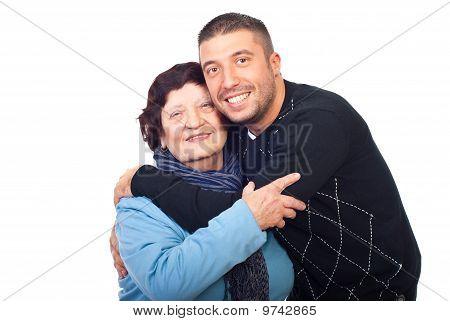 Happy Grandson Hugging Grandma