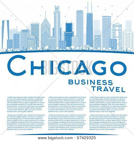 Outline Chicago city skyline with blue skyscrapers and copy space. Business travel concept. Vector illustration