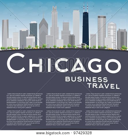 Chicago city skyline with grey skyscrapers, blue sky and copy space. Business travel concept. Vector illustration