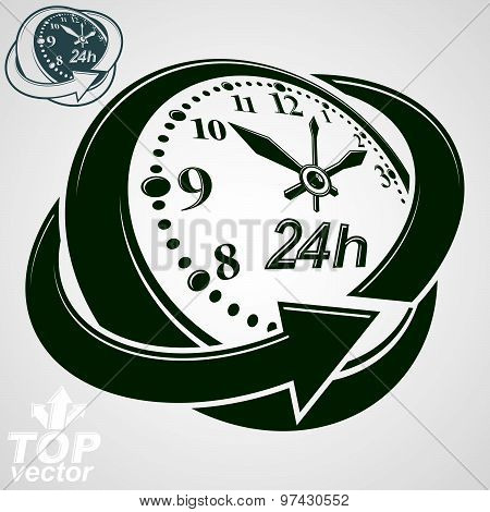 3d vector round 24 hours clock with arrow around, version included. Time idea symbol. Twenty four