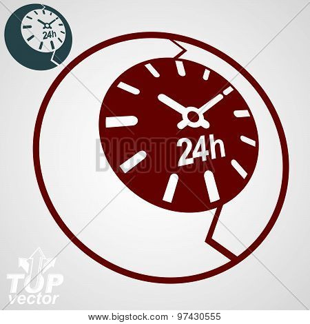 Contemporary red vector stylized 24 hours detailed icon, additional version included. Twenty four
