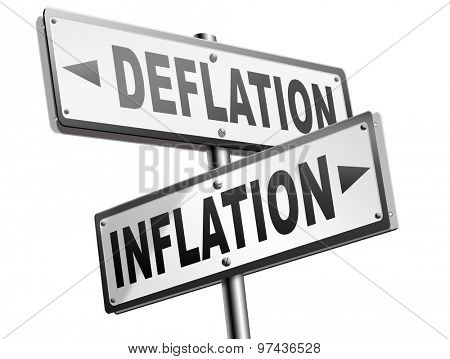 inflation deflation bank crisis or financial and economic recession or stock market crash or rise sign