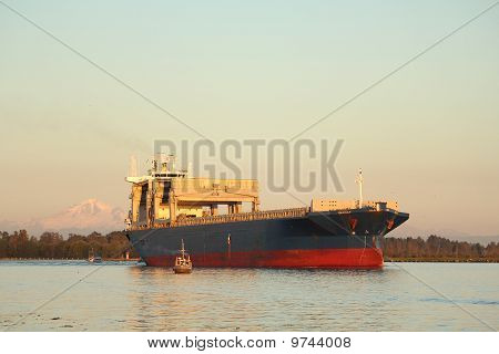 Fraser River Freighter and Fish Boats