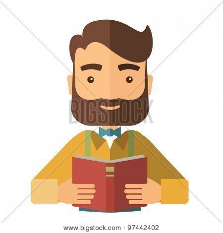 A caucasian with beard reading a medical book to learn more knowledge in medicine. A Contemporary style. Vector flat design illustration isolated white background. Square layout