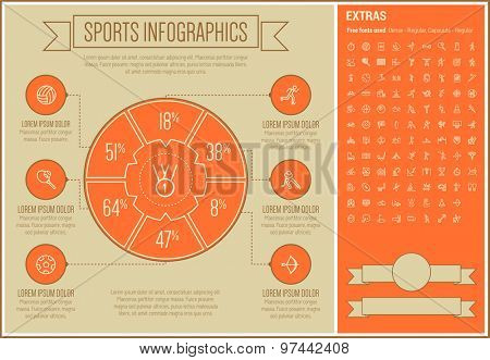 Sports infographic template and elements. The template includes the following set of icons - billiard ball, golf, medal, archery, soccer, fitness cycling, skateboard, chess and more. Modern