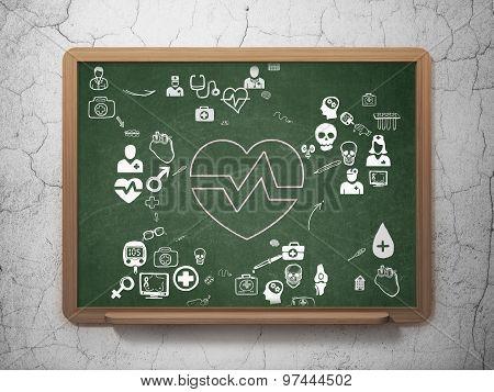 Medicine concept: Heart on School Board background