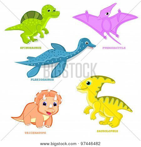 Baby dinosaur set vector illustration Fun dinosaur animal vector Cute happy colorful cartoons