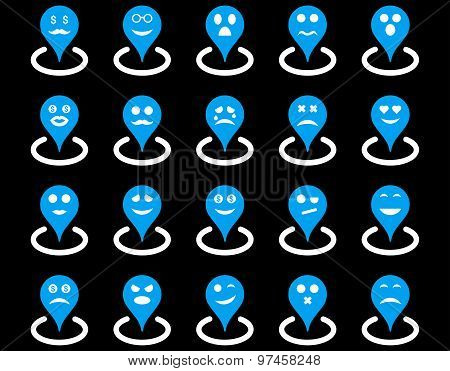 Smiled location icons. Glyph set style: bicolor flat images, blue and white symbols, isolated on a black background. poster