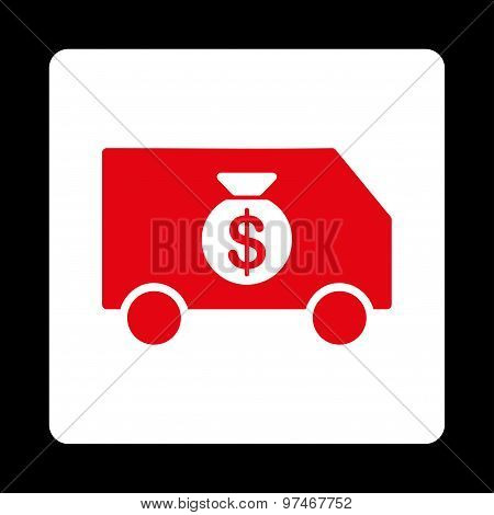 Collector Car icon from Commerce Buttons OverColor Set. Vector style is red and white colors, flat square rounded button, black background. poster
