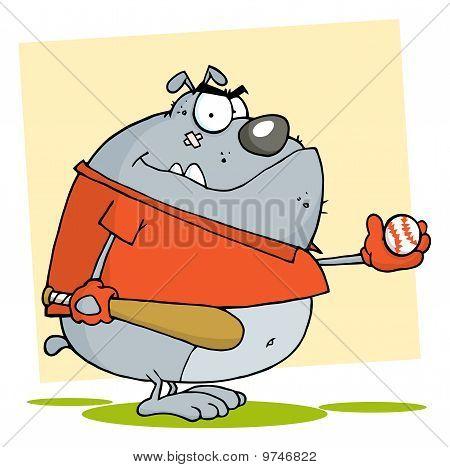 Fat Bulldog Playing Baseball With Bat And Ball poster