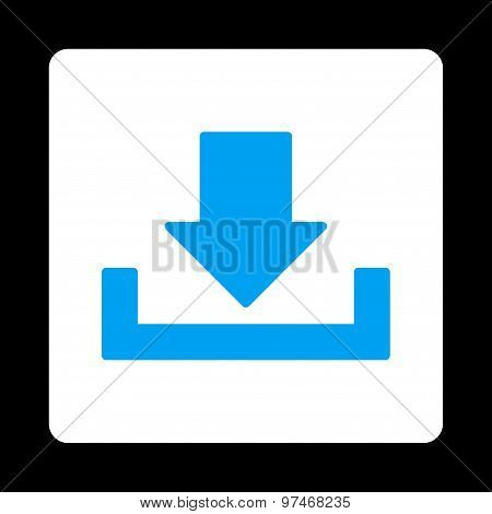 Download icon from Primitive Buttons OverColor Set. This rounded square flat button is drawn with blue and white colors on a black background. poster