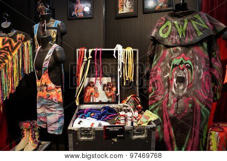 Wwe Legend The Ultimate Warrior Outfit, Face Paint, And Photo Display