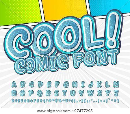 Creative High Detail Blue Comic Font. Alphabet, Comics, Pop Art.