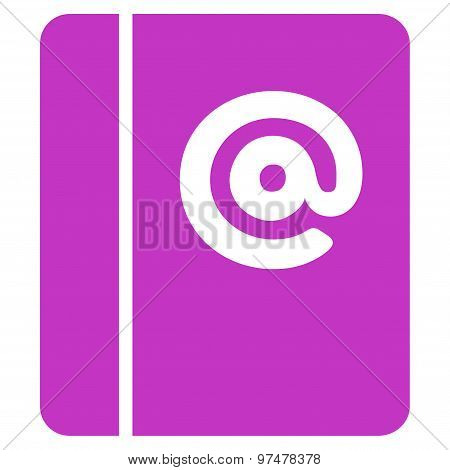 Emails icon from Business Bicolor Set. This flat vector symbol uses violet color, rounded angles, and isolated on a white background. poster