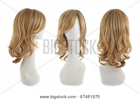 Wavy hair wig over the white plastic mannequin head isolated over the white background, set of three foreshortenings poster