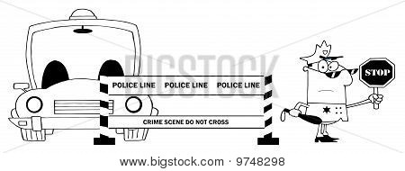 Outlined Traffic Police Officer With Car