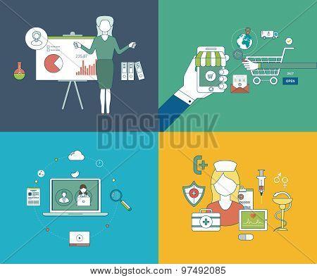 Flat design modern vector illustration icons set of online education, online courses, online communi