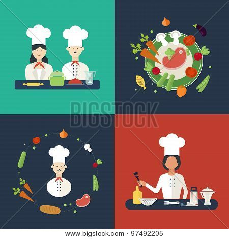 Flat design concept icons of kitchen utensils with a chefs. Cooking tools and kitchenware equipment,