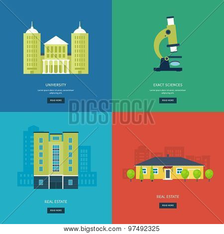 Flat design modern vector illustration icons set of online education, e-learning, university, urban