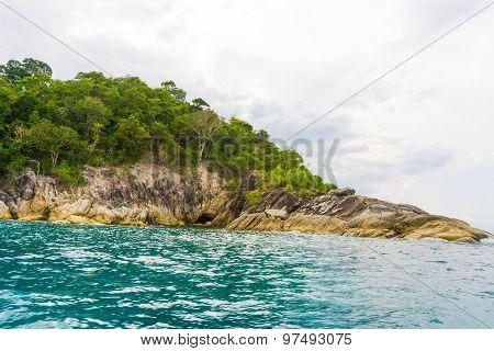 Beautiful Rock Island Tropical Ocean Landscape