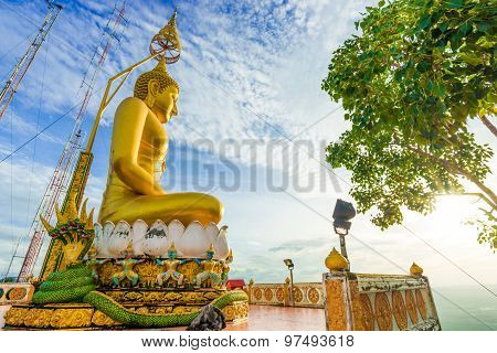 Detail Of Krabi Golden Big Budha On Mountain