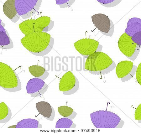Seamless Pattern With Stack Of Scattered Colored Parasols