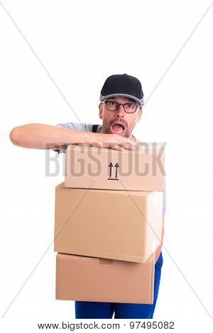 overstrained postman with parcels in front of white background poster