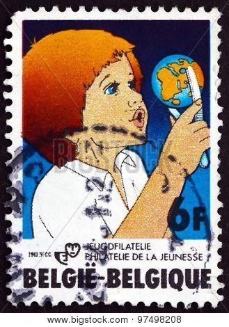 Postage Stamp Belgium 1981 Child With Globe