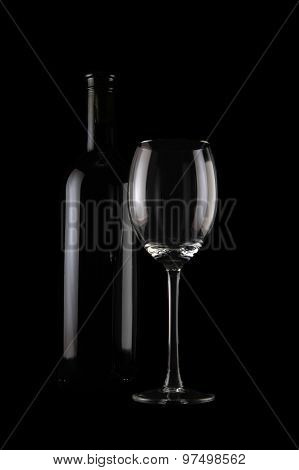 Bottle Of Wine And Empty Glass