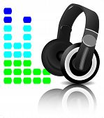 Headphones equalizer. Music and sound audio equalizer vector graphic illustration player poster