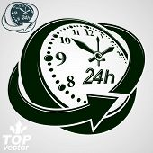 3d vector round 24 hours clock with arrow around, version included. Time idea symbol. Twenty-four hours a day conceptual elegant icon. poster