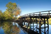 Old north bridge located in Concord, massachusetts, where the american revolution started poster