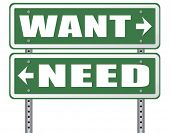 want need back to basic needs or being a big consumer society without satisfaction only must have always more never enough or less road sign arrow poster