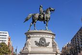 Major General George Henry Thomas Memorial Civil War Statue Moon Thomas Circle Washington DC. Bronze statue dedicated in 1879; sculptor is John Quincy Adams Ward. Famous Union General known as Rock of Chickamunga. poster
