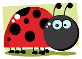 Smiling Happy Ladybug With Background Cartoon Character poster