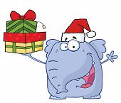 Christmas Elephant Holds Up Gifts with Christmas hat poster