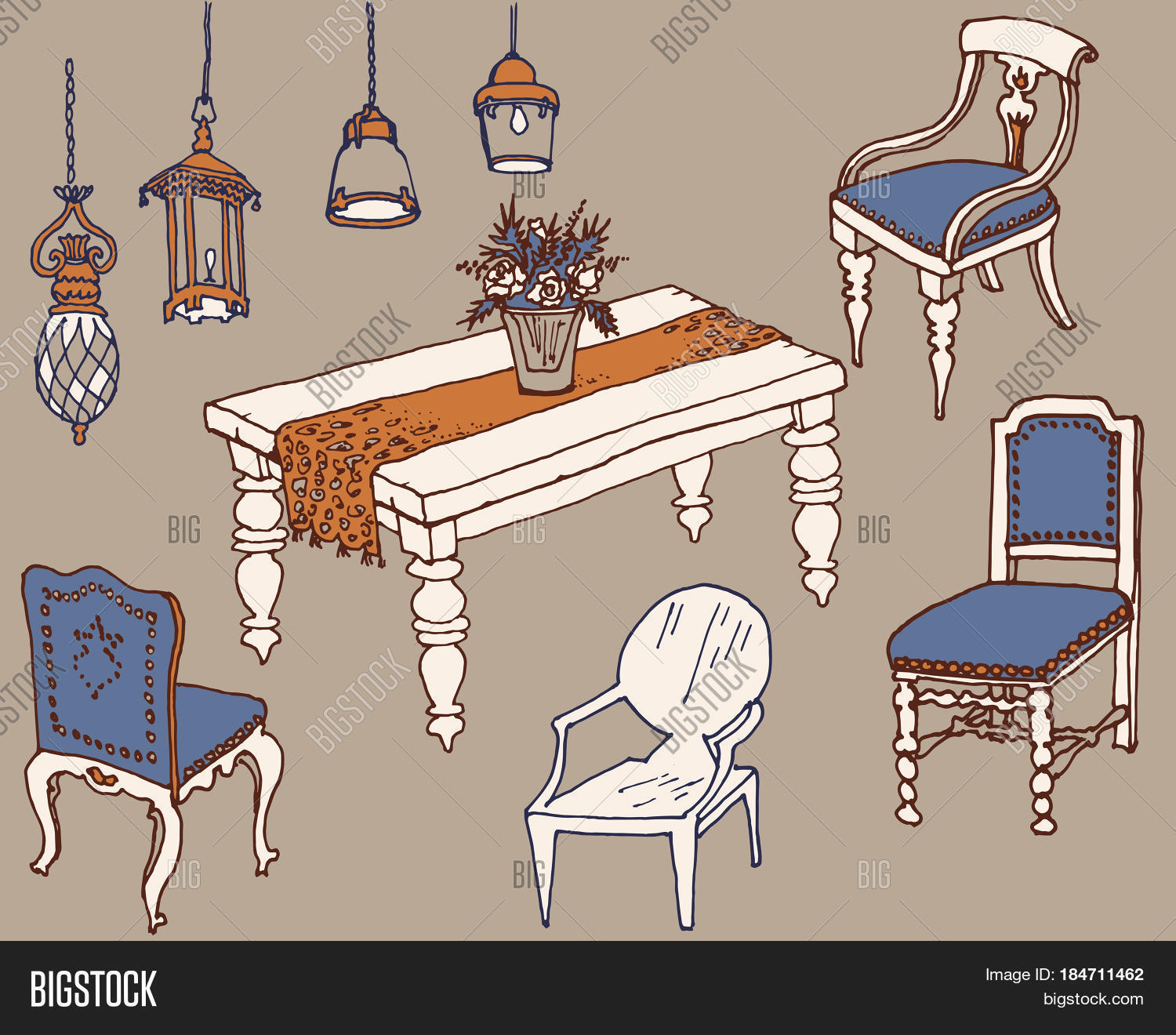 Dining Room Furniture Vector Photo Free Trial Bigstock