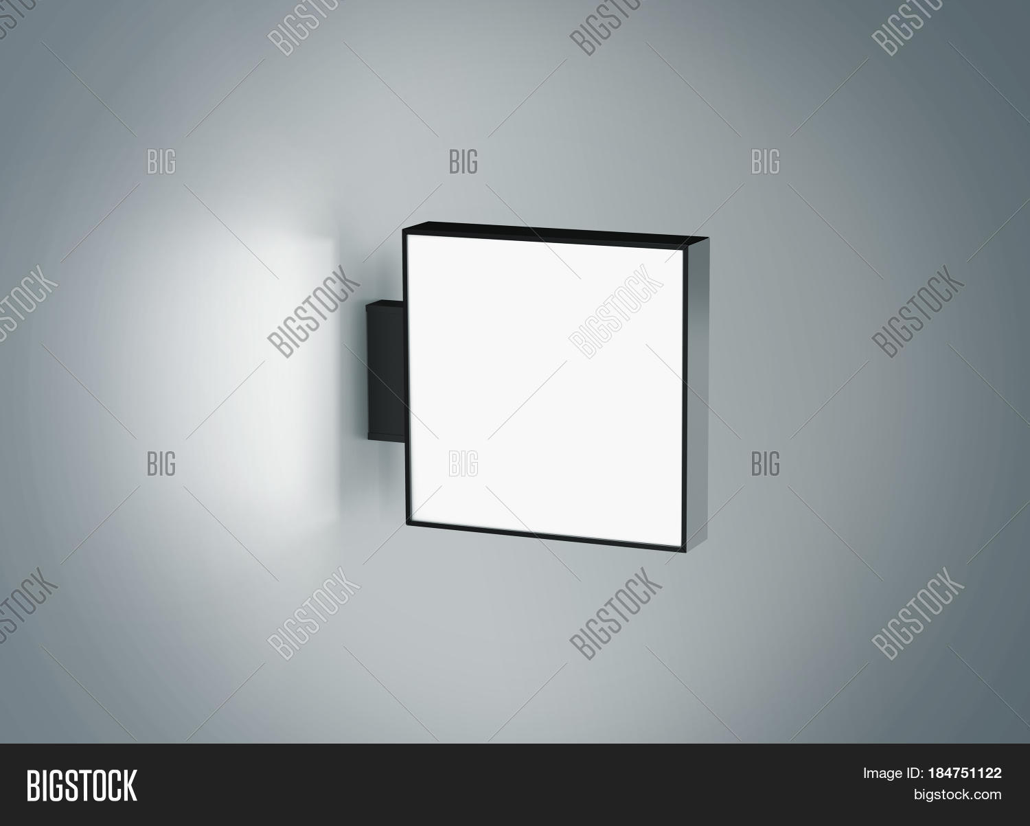 Blank Store Signage Design Mock Up Isolated 3d Rendering Empty Square Light Box Mockup
