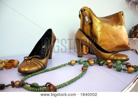 Beads, Handbag And High Heel Shoes