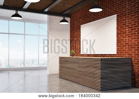 Side view of a wooden reception counter standing near a brick wall with a poster hanging on it and and a panoramic window in the background. 3d rendering mock up
