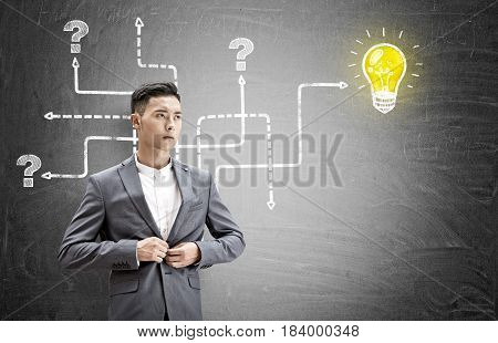 Portrait of an Asian businessman buttoning his gray suit standing near a blackboard with an arrow maze leading to question marks and a small glowing light bulb