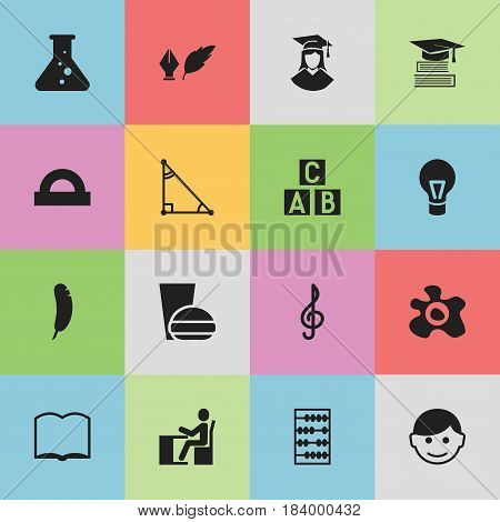Set Of 16 Editable University Icons. Includes Symbols Such As Literature, Fast Food, Alphabet Cube And More. Can Be Used For Web, Mobile, UI And Infographic Design.