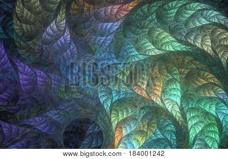An abstract computer generated fractal design. Abstract fractal color texture. Rainbow foliage whirlwind