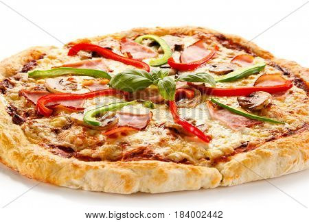 Pizza with ham and pepper