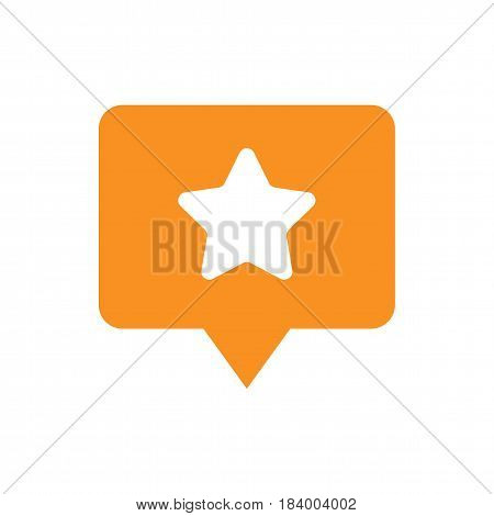 Favorite places location pin symbol. Orange icon with star isolated on white background. Flat vector illustration.