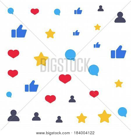 Speech bubbles for social networks. Abstract background. Vector flat illustration. Likes, comments, followers, stars and subscribers in social communication.