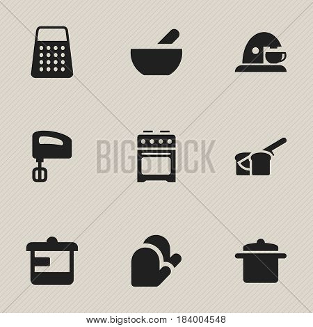 Set Of 9 Editable Cook Icons. Includes Symbols Such As Cup, Cookware, Soup And More. Can Be Used For Web, Mobile, UI And Infographic Design.